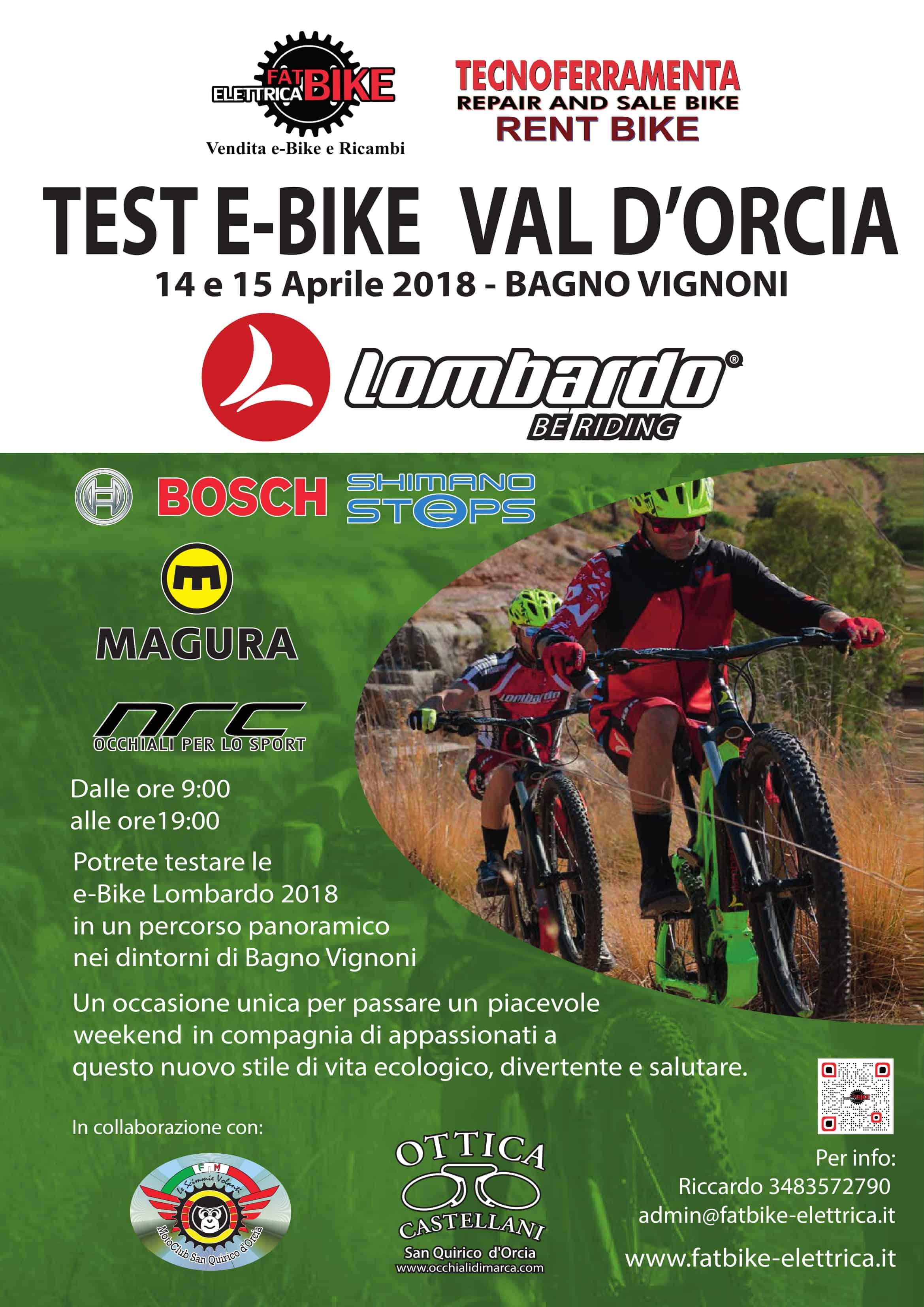 Test e-Bike parco della Val D'Orcia 14-15 Aprile alle Terme di Bagno Vignoni.