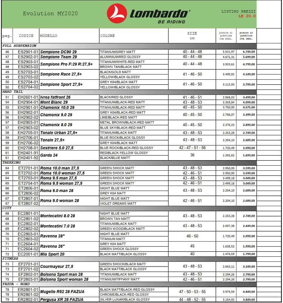 Listino Prezzi Lombardo bikes ed ebikes 2020. Evolution serie.