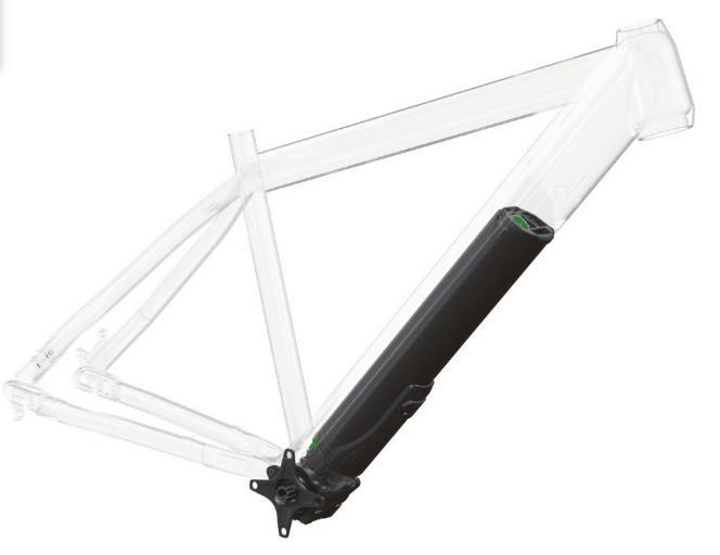 sistema fazua motore più batteria montato su telaio e-bike transparente per far vedere come è.