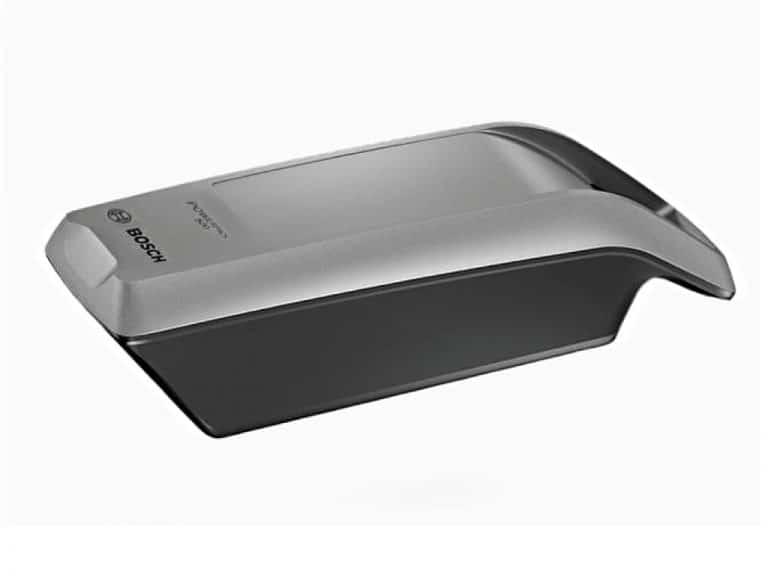 Vista Batteria Bosch PowerPack 500W Frame, cioè telaio, colore platino.