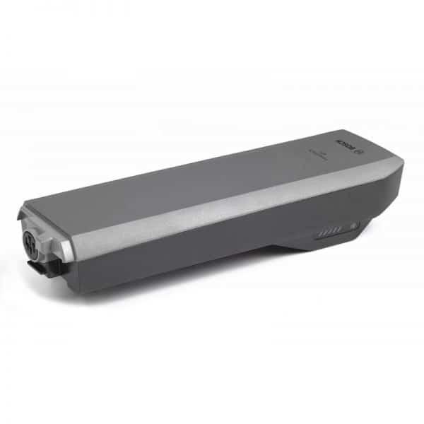 Vista laterale Batteria Bosch PowerPack rack, cioè portapacchi, colore antracite.