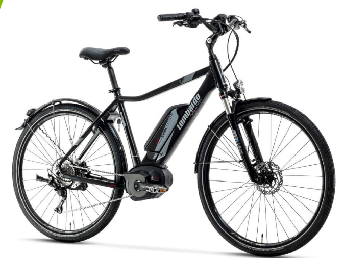 eRoma Uomo Trekking 8.0 con forcelle ammortizzate e luci. Lombardo e-Bike 2018.