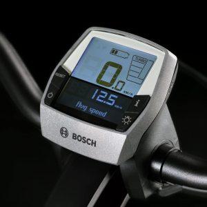 Display Intuvia Bosch con unità di comando controllo montato su e-Bike. Colore Platino.