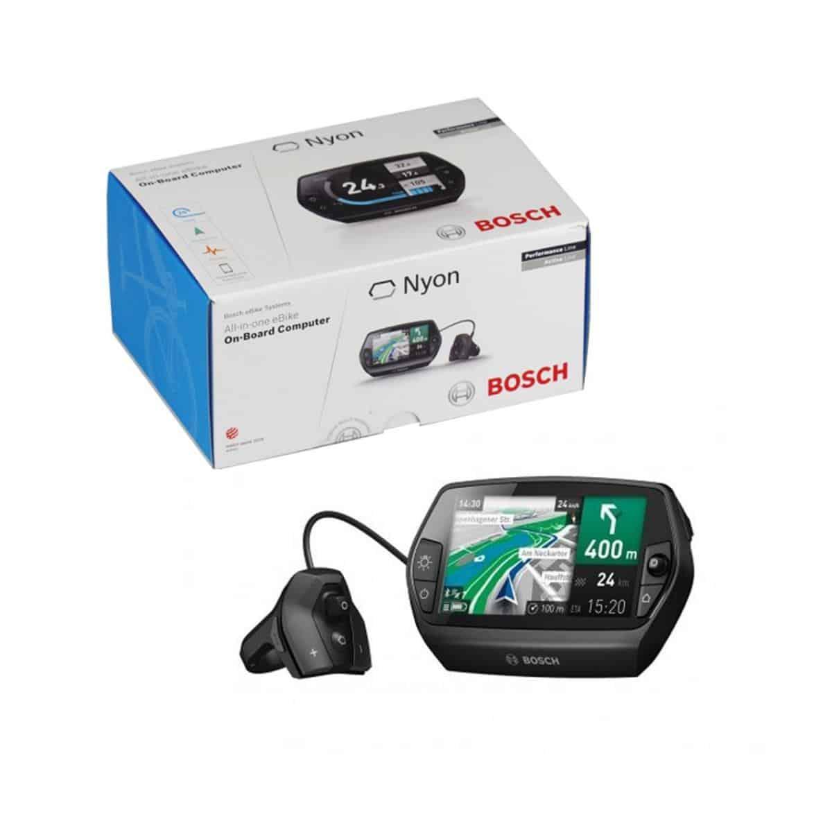 Display Bosch Nyon LCD, ciclocomputer per e-Bike e eMTB. Schermo LCD con visualizzate mappe, colore Antracite.Display Bosch Nyon LCD, ciclocomputer per e-Bike e eMTB. Schermo LCD con visualizzate mappe, colore Antracite.