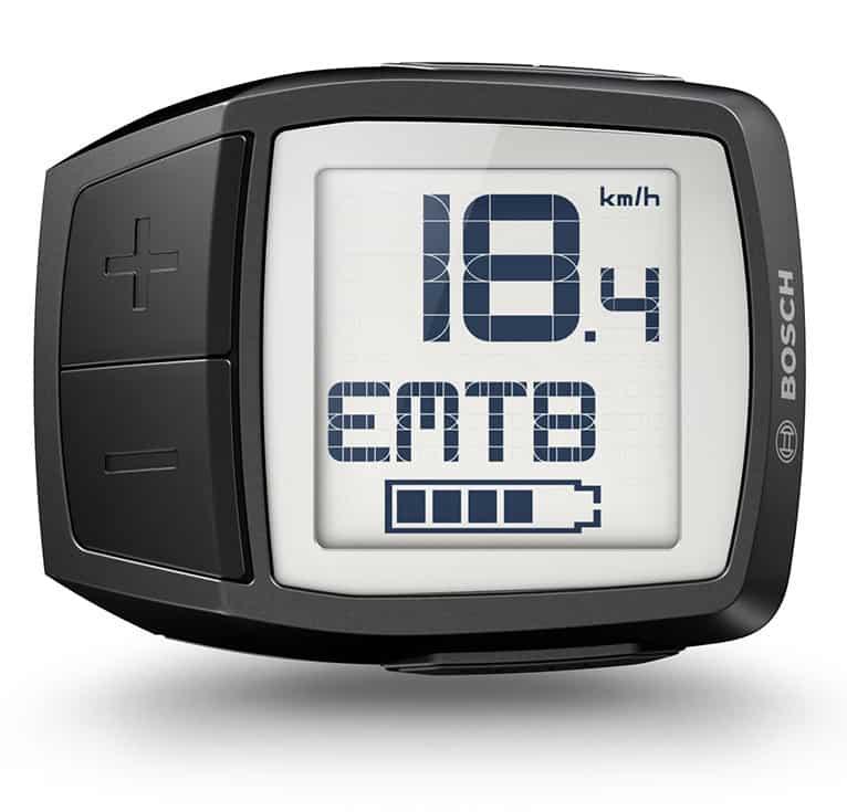 Display compatto Bosch Purion sulle Display Bosch Purion colore Antracite per le Top di Gamma e-MTB ed e-Bike dei modelli 2018.