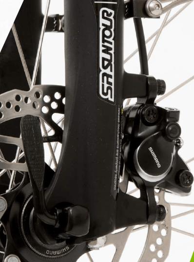 Particolari freno a disco anteriore shimano su Montecatini Sport 8.0 e-bike lombardo 2018.